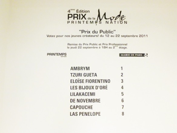 Prix de la Mode, Printemps Nation, 2011